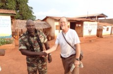 Kim Cone with the Seleka commander at the Cameroon border.